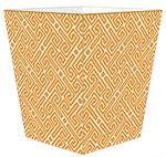 WB2658 - Orange & White Fret Pattern Wastepaper Basket