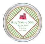C1600- Pink and Green Daisy Baby Coaster