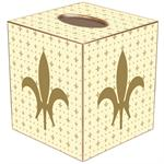 TB1136 - Gold & Creme Large Fleur de Lis Tissue Box Cover