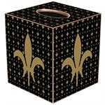 TB1447 - Gold & Black Large Fleur de Lis Tissue Box Cover
