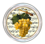 C1131- Yellow Grapes On Sonata- Music Notes Glass Coaster
