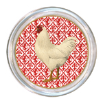 C166-RD-White Rooster on Red Coaster