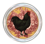 C167-RR-Black Rooster on Red Toile Coaster