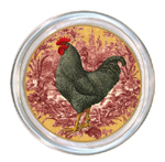 C168 -RR-Black & White Speckled French Rooster on Red Toile Coaster