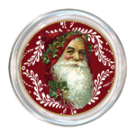 C405-Santa Face on Red Provencial Coaster