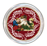 C407-Santa with Children on Red Provencial Coaster