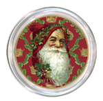 C408-Santa Face on Holly Leaves Coaster
