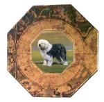 P1195-Sheepdog Decoupage Plate