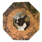 P1196-French Bulldog Decoupage Plate