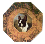 P415-Boston Terrier Decoupage Plate