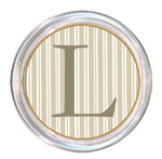 C1124-Taupe Stripe Personalized Coaster