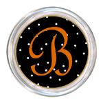 C1227-Black Halloween Dot Personalized Coaster