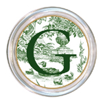 C445-Green Toile Personalized Coaster