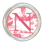 C547-Pink Boat Toile Personalized Coaster