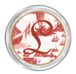 C857-Red Boat Toile Personalized Coaster
