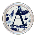 C874-Navy Boat Toile Personalized Coaster