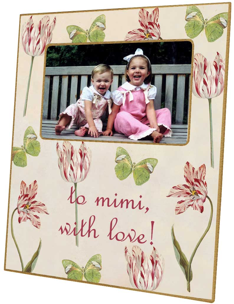 F422 Tulips Butterflies Personalized Frame