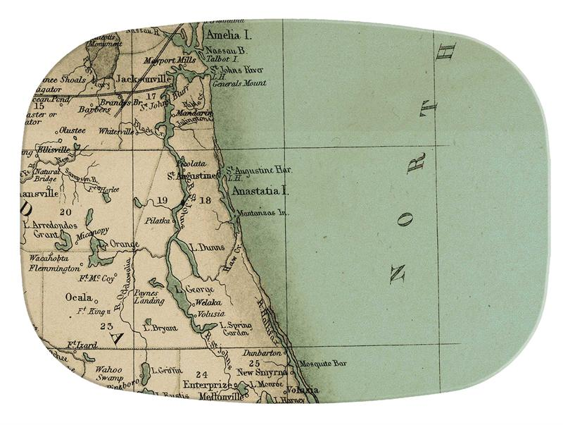 Northeast Florida Map.M1851 Northeast Florida Antique Map Personalized Melamine Plate