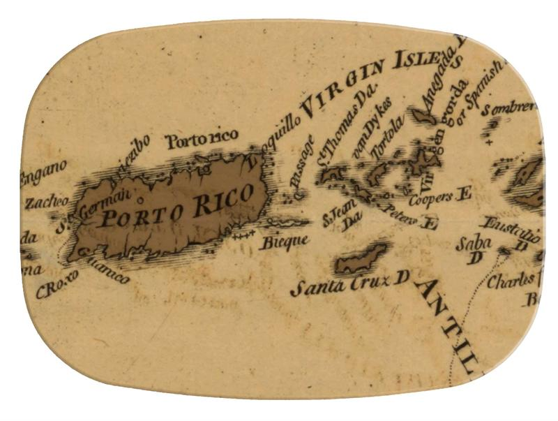 M2462-Puerto Rico & Virgin Islands Antique Map Melamine Plate/ Platter
