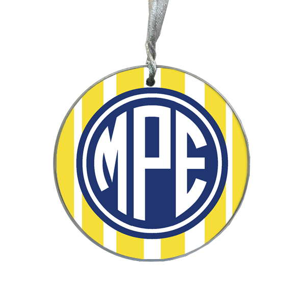 O8419 Yellow Stripe With Navy Monogram Monogrammed Ornament