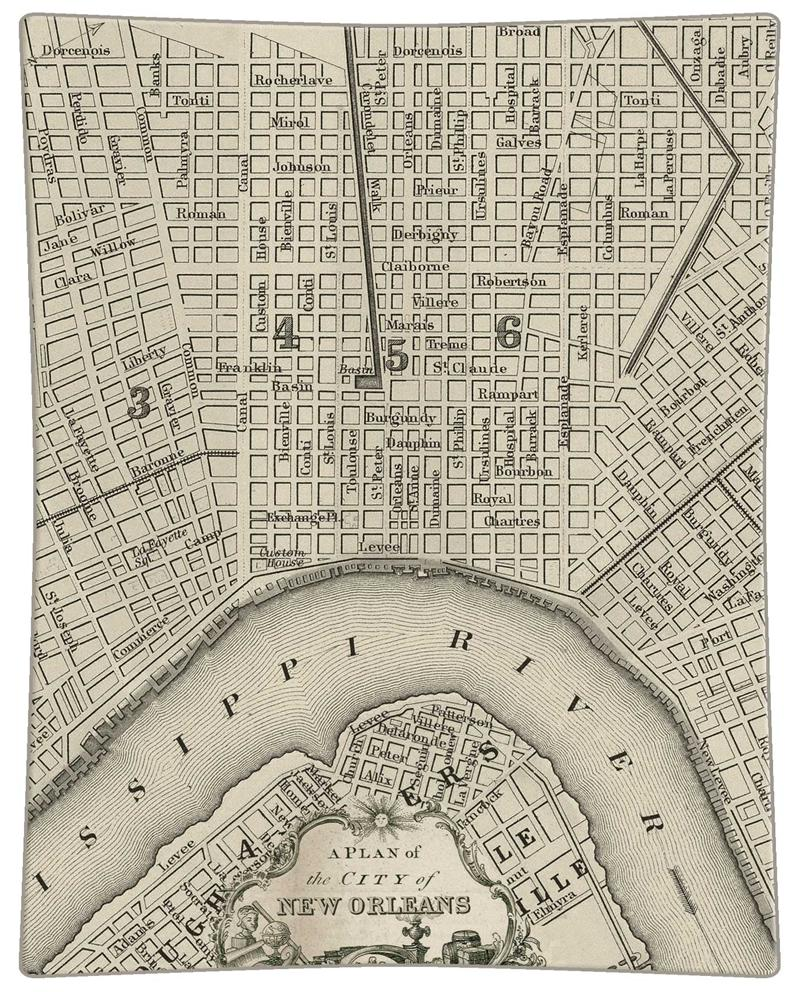 Antique New Orleans Map.P1589 Antique New Orleans Map Decoupagetray