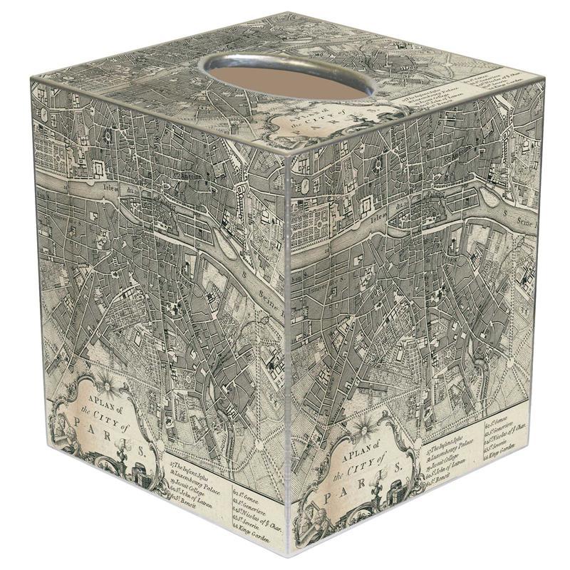 TB Paris Antique Map Tissue Box Cover - Antique map box