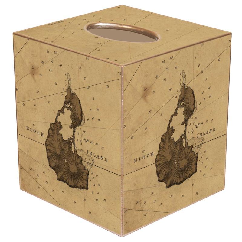 TBBlock Island Antique Map Tissue Box Cover - Antique map box