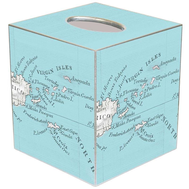 Virgin Islands Antique Map Tissue Box Cover - Antique map box