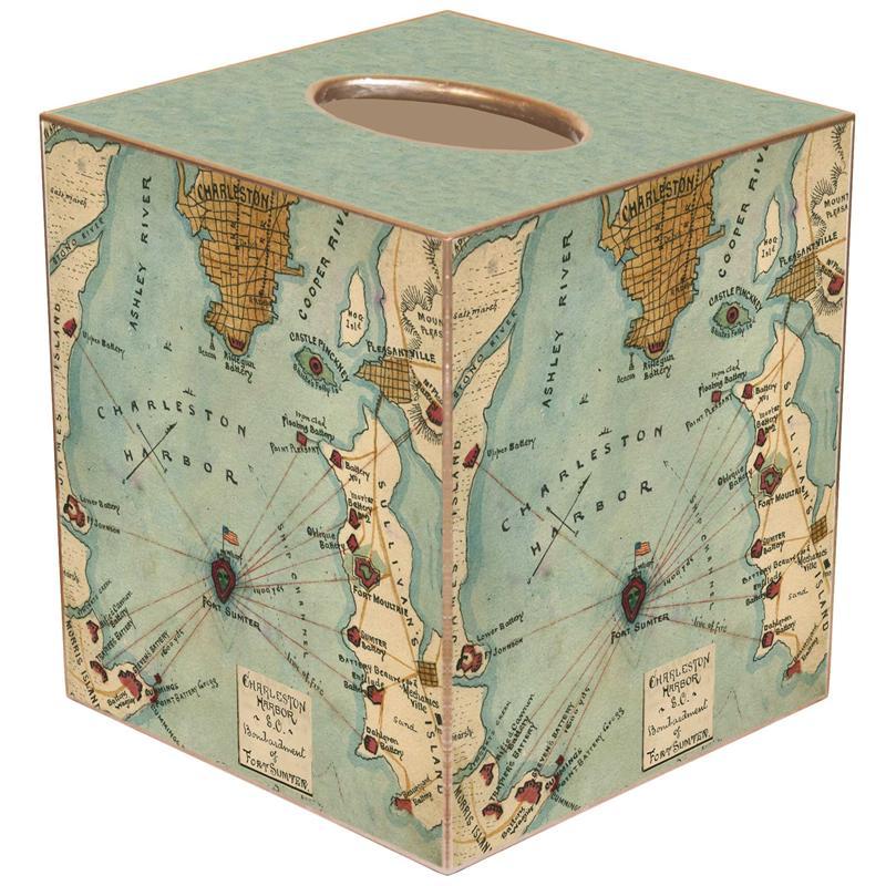 TB Fort Sumter South Carolina Antique Map Tissue Box Cover - Antique map box