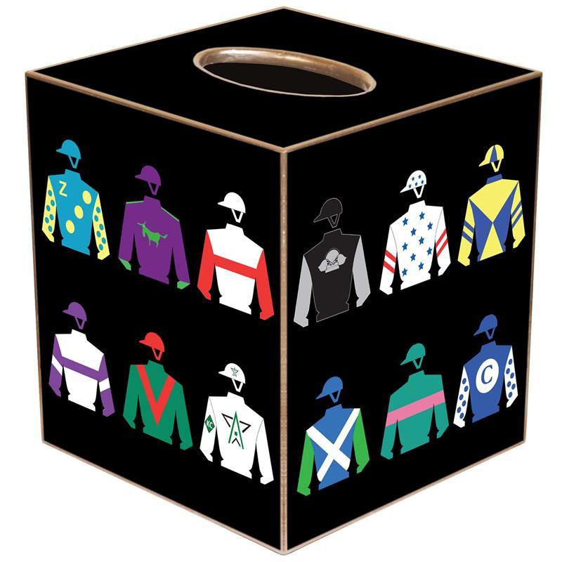 TB8590-Kentucky Derby Silks Black Tissue Box