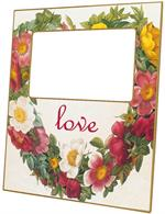 F1443-Floral Heart Wreath Personalized Picture Frame
