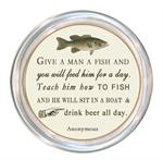 C8378-Give a man a fish and he will eat for a day.  Teach him how to fish and he will sit in a boat and drink beer all day.  Anonymous Coaster