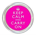 C2631 - Keep Calm and Carry On Hot Pink Coaster