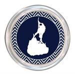 C2817-Block Island Navy Chevron Wine Coaster