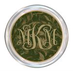 C334-Green Damask Personalized Coaster