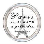 C8328-Paris is always a good idea Audrey Hepburn Quote Coaster