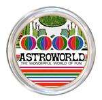 Colorful coaster with vintage Astroworld design