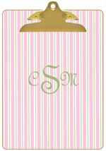 CB1122 - Pink and Green Stripe Personalized Clipboard