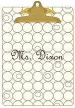 CB1177 - Brown and Creme Circles Personalized Clipboard