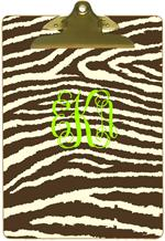 CB1448-Brown & Creme Zebra Personalized Clipboard