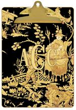 CB330 - Black And Gold Asian Toile Clipboard
