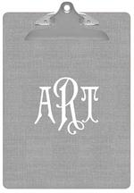 CB8402-Grey Linen  Personalized Clipboard