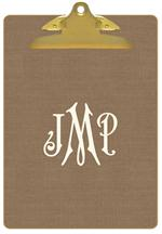 CB8403-Taupe Linen  Personalized Clipboard
