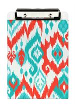 CB8414-Coral and Turquoise Ikat  Personalized Clipboard