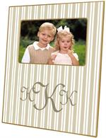 F1124 - Taupe Stripe Personalized Picture Frame