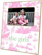 GB1217-Pale Pink Boat Toile Personalized Glass Cutting Board
