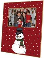F1244 - Snowman on Tiny Red Dot Picture Frame