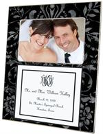 T1532-Black and Silver Damask with Inset Wedding Lucite Tray