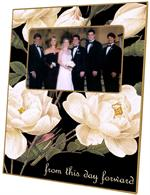 T1548-White Roses on Black Personalized Lucite Tray