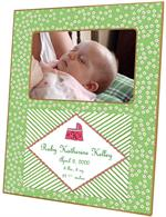 F1600- Pink and Green Daisy Birth Announcement Personalized Picture  Frame